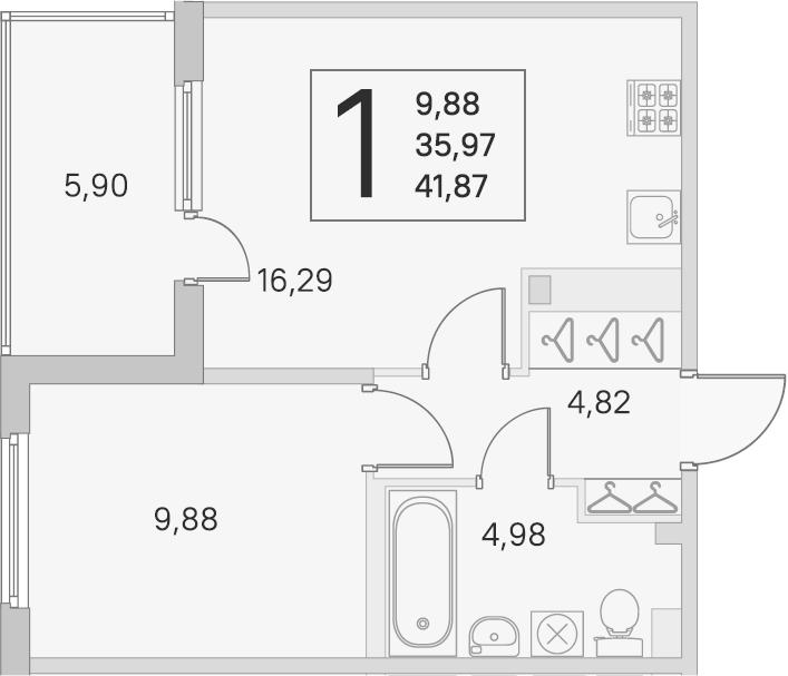 2-комнатная 41 м<sup>2</sup> на 2 этаже
