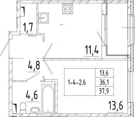1-комнатная 39 м<sup>2</sup> на 2 этаже