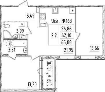 3-комнатная 65 м<sup>2</sup> на 4 этаже