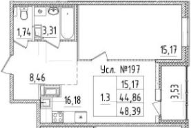 2-комнатная 48 м<sup>2</sup> на 6 этаже