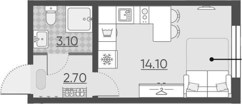 Студия 19 м<sup>2</sup> на 1 этаже