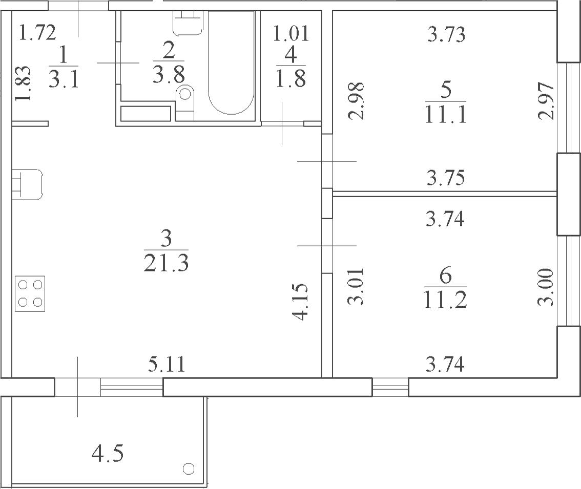3-комнатная 56 м<sup>2</sup> на 4 этаже