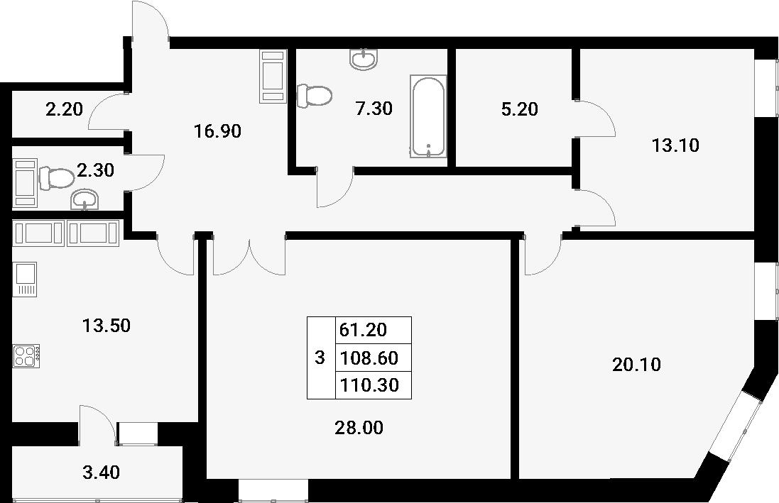 3-к.кв, 112 м²
