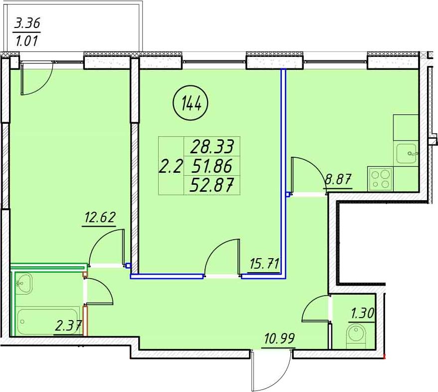 2-к.кв, 55.23 м²