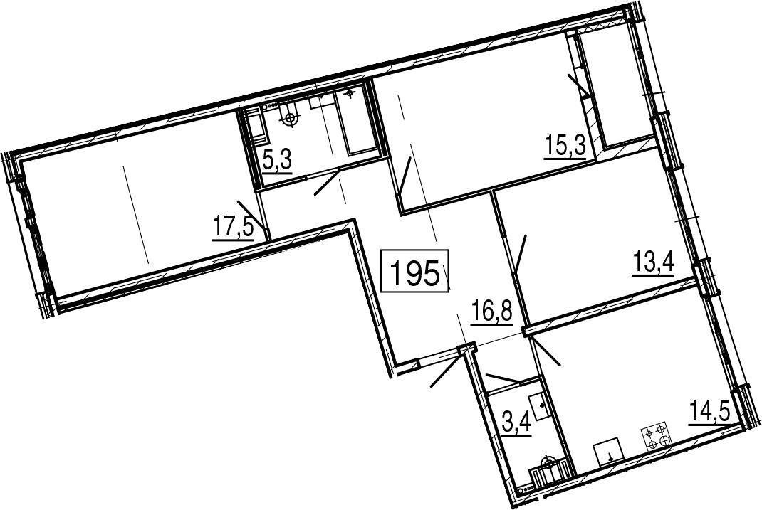 3-комнатная 89 м<sup>2</sup> на 2 этаже