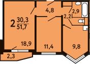 2-к.кв, 53.33 м²