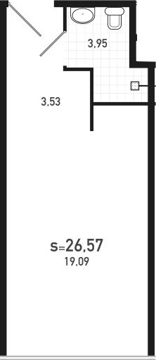 Студия 26 м<sup>2</sup> на 10 этаже