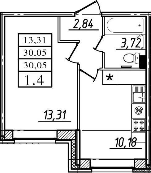 1-к.кв, 30.05 м²