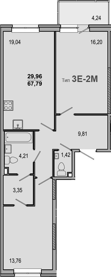 3-комнатная 72 м<sup>2</sup> на 2 этаже