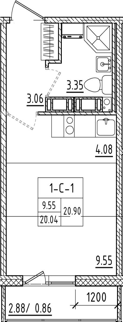 Студия, 22.93 м²