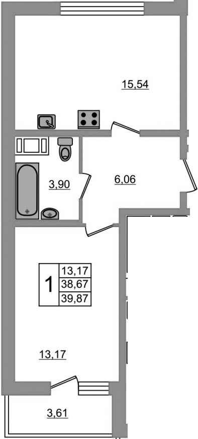 2-к.кв (евро), 42.28 м²