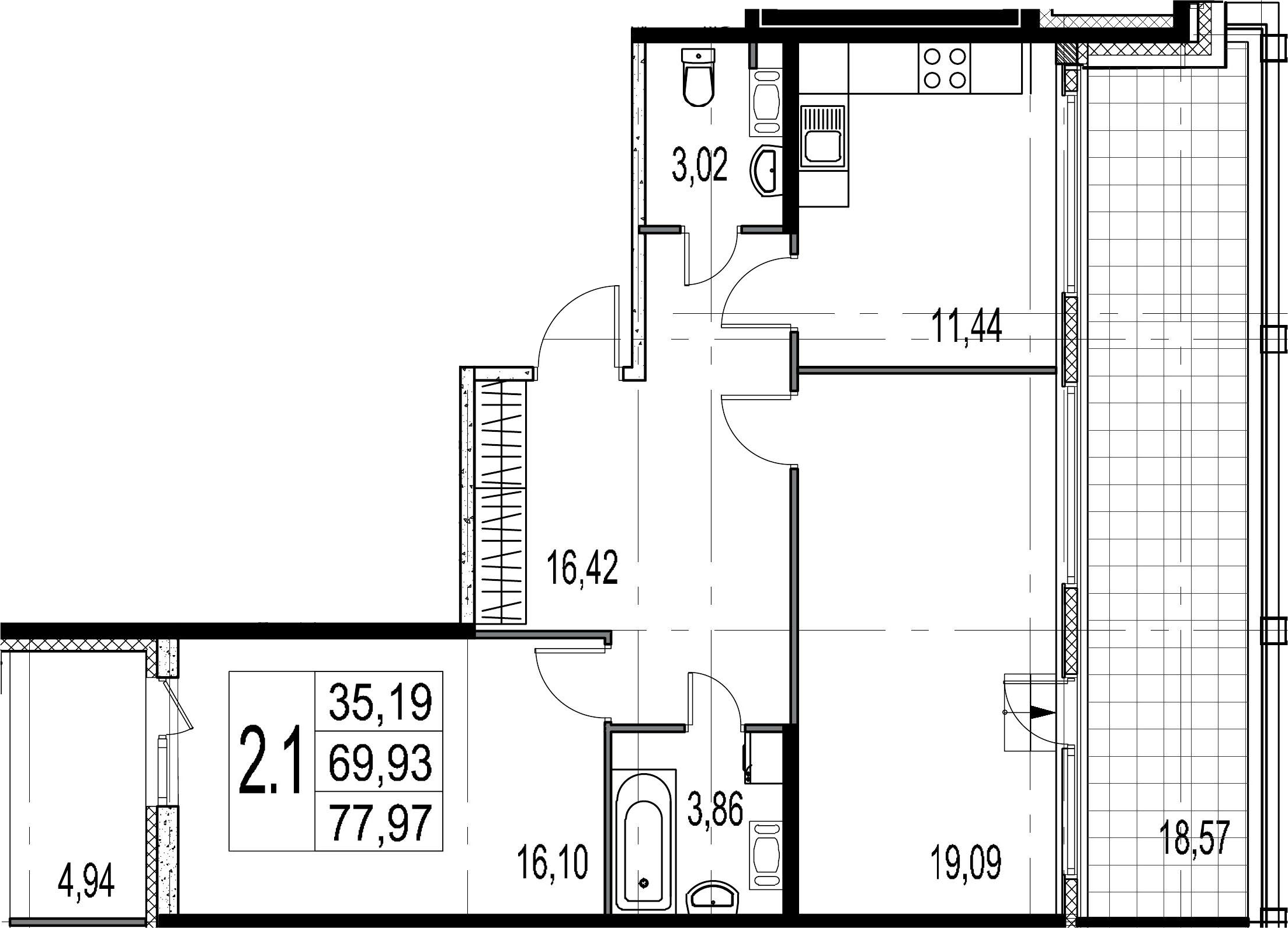2-комнатная 93 м<sup>2</sup> на 9 этаже