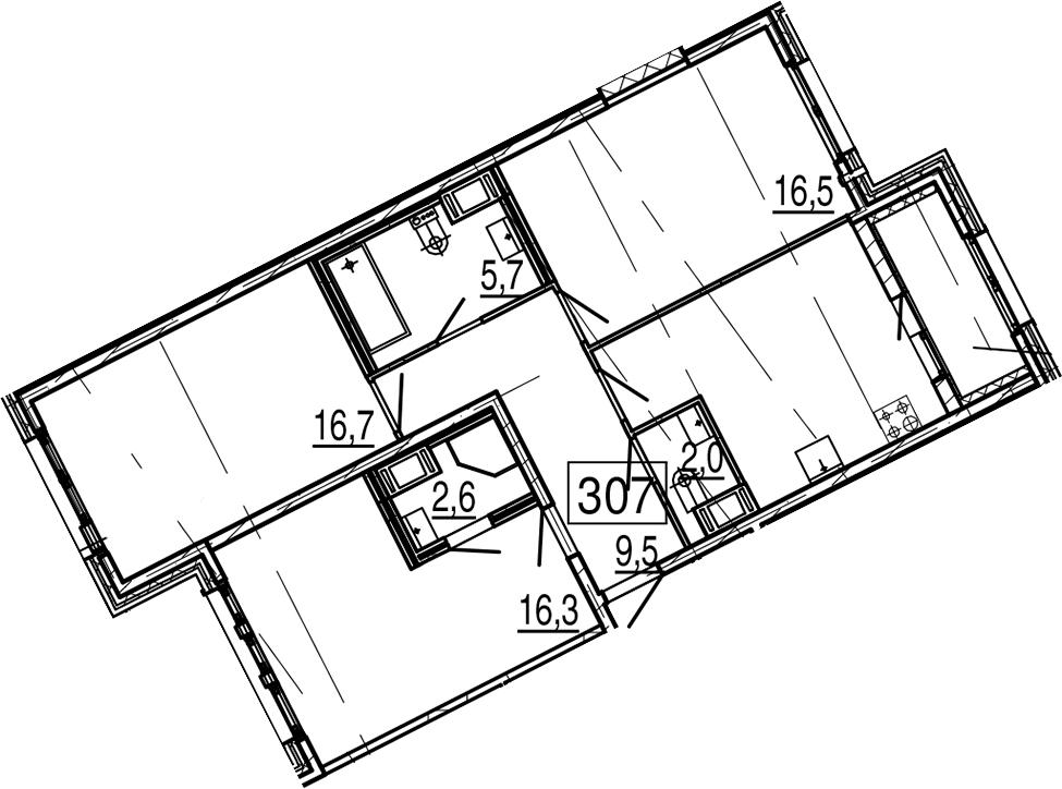 3-комнатная 87 м<sup>2</sup> на 11 этаже