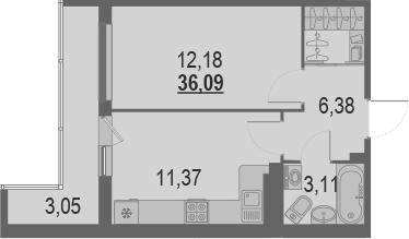 1-комнатная 39 м<sup>2</sup> на 20 этаже