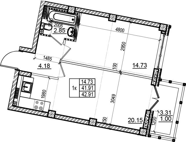 2-комнатная 45 м<sup>2</sup> на 6 этаже