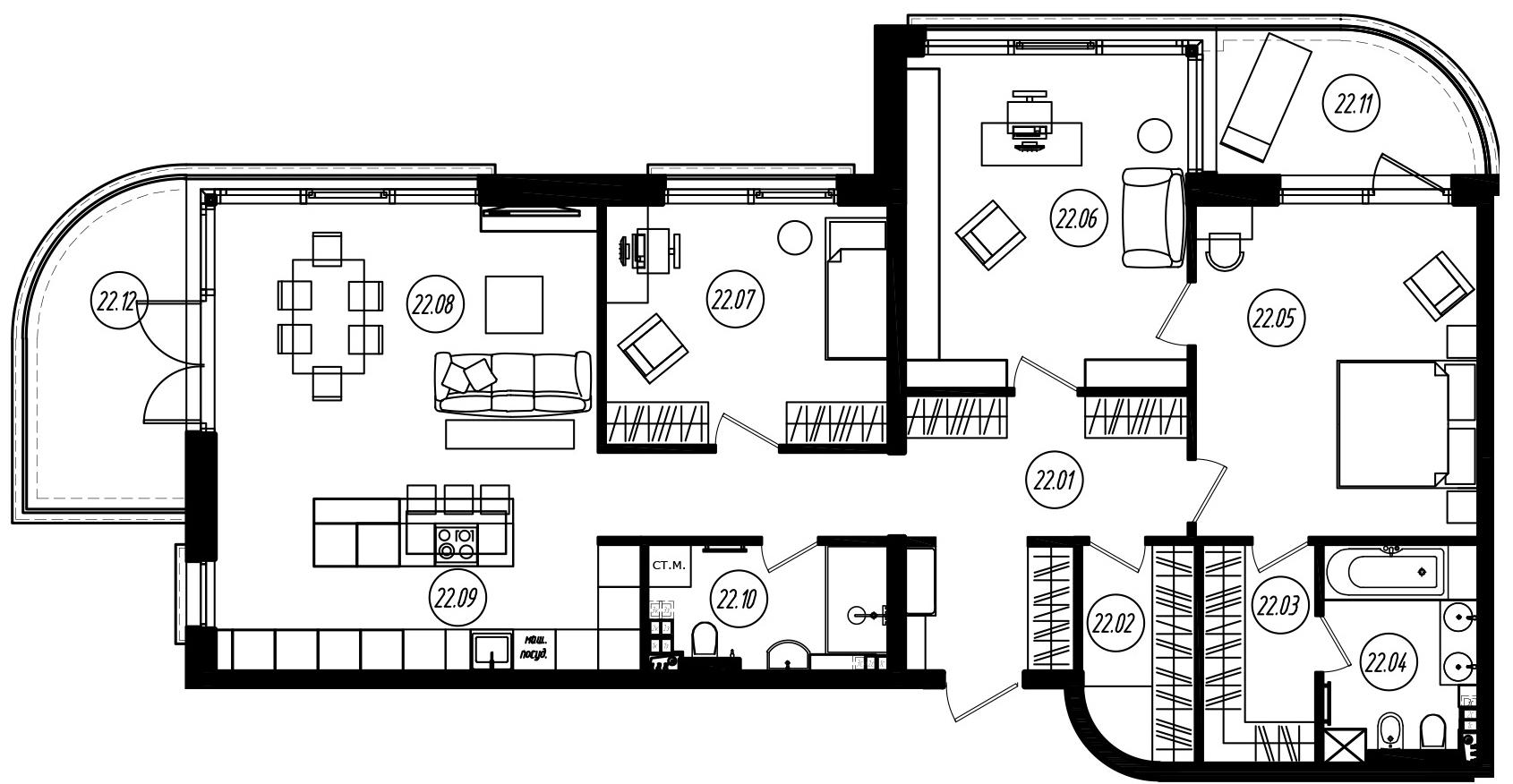 4-комнатная 143 м<sup>2</sup> на 3 этаже