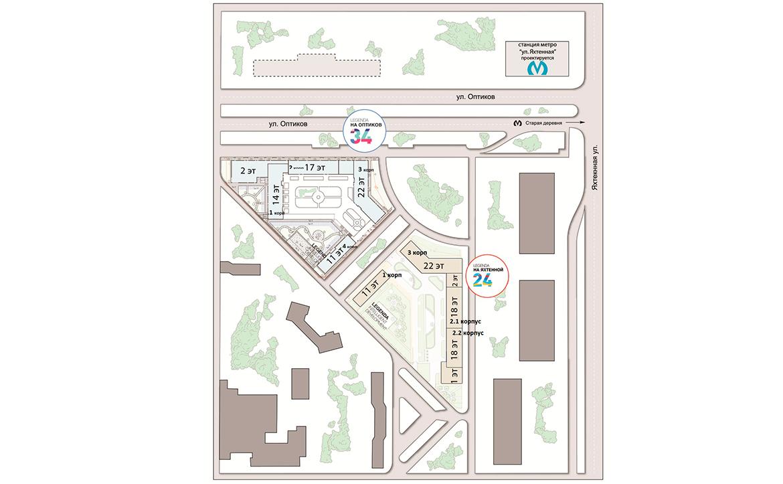 План жилого комплекса ЖК LEGENDA на Оптиков 34
