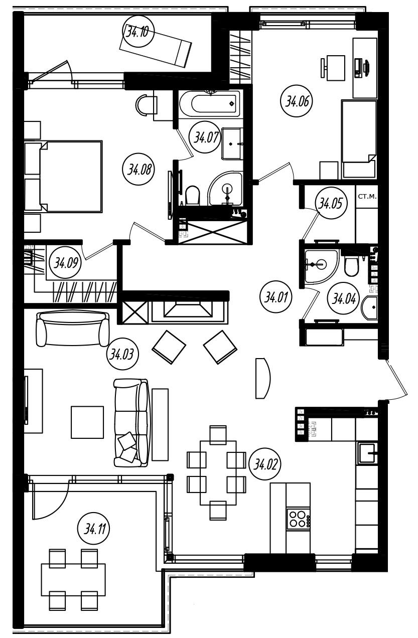 3-комнатная 123 м<sup>2</sup> на 4 этаже