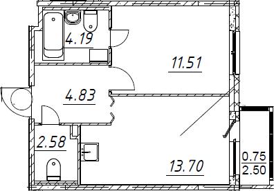 2-комнатная 39 м<sup>2</sup> на 1 этаже