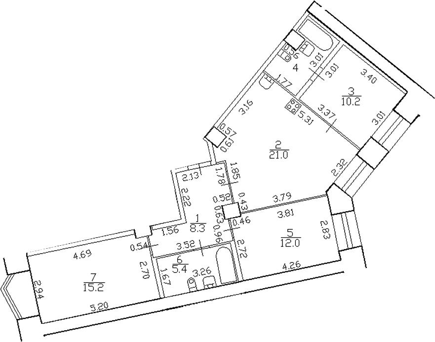 4-комнатная 77 м<sup>2</sup> на 2 этаже
