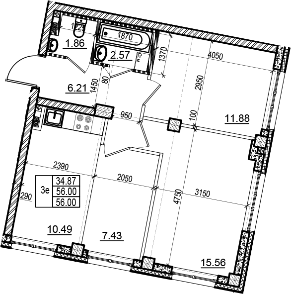 3-комнатная 56 м<sup>2</sup> на 3 этаже