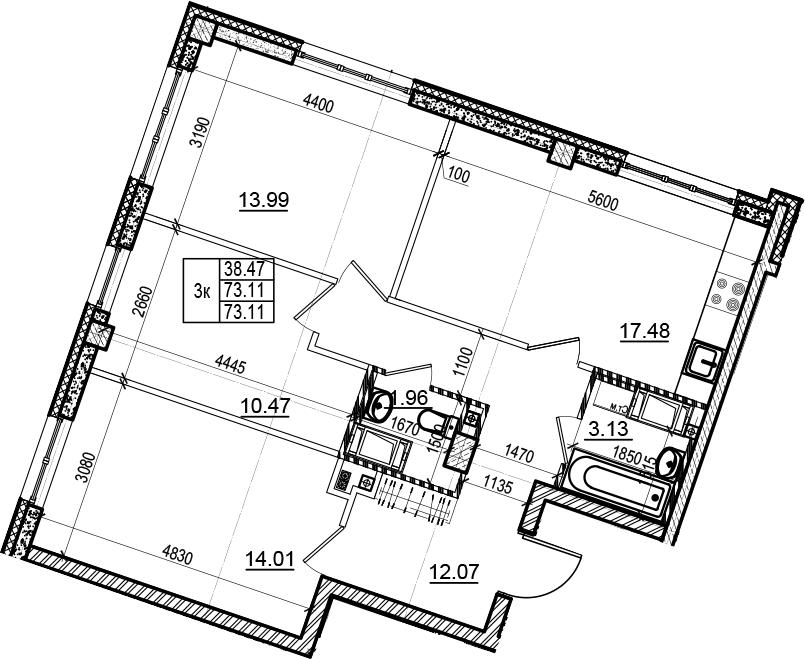 4-комнатная 73 м<sup>2</sup> на 4 этаже