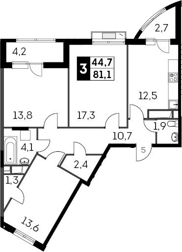 3-к.кв, 84.55 м²