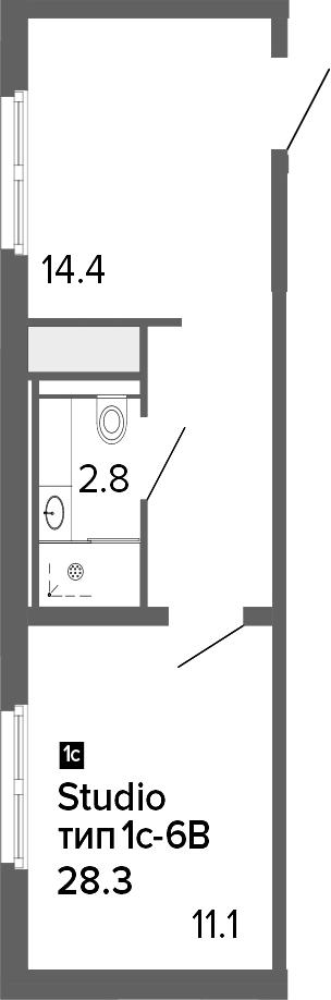1-комнатная 28 м<sup>2</sup> на 3 этаже