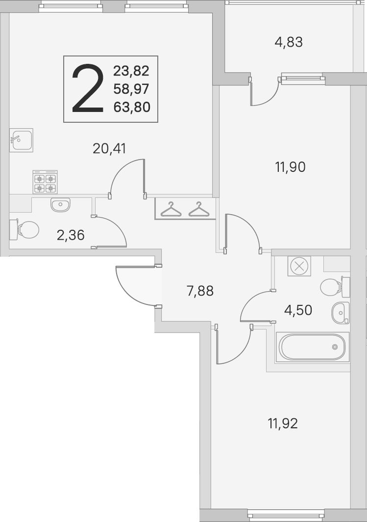 3-комнатная 63 м<sup>2</sup> на 1 этаже