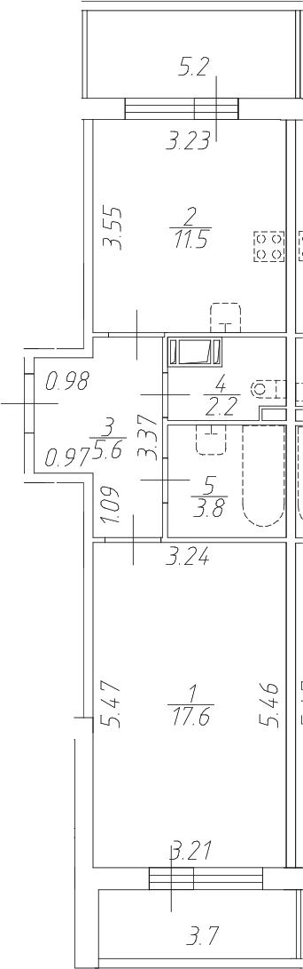 1-комнатная 49 м<sup>2</sup> на 5 этаже
