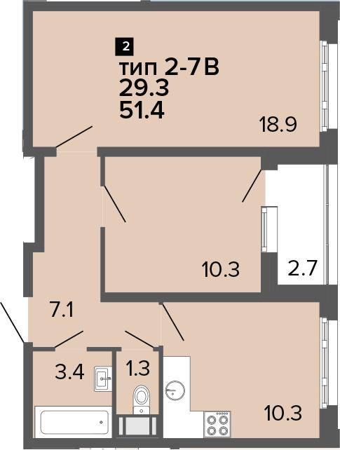 2-комнатная 54 м<sup>2</sup> на 22 этаже
