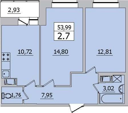 2-к.кв, 53.99 м²