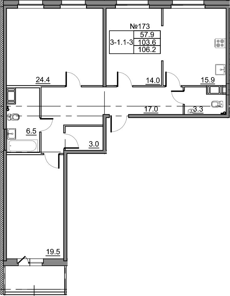 4-комнатная 108 м<sup>2</sup> на 2 этаже