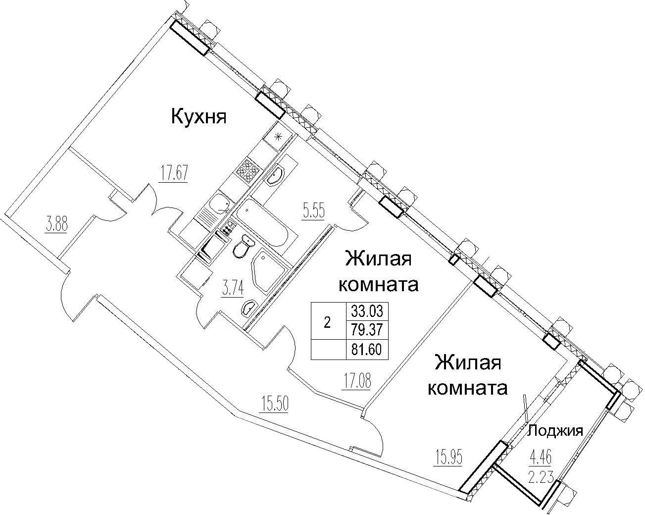 3-комнатная 83 м<sup>2</sup> на 12 этаже