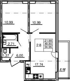 3-комнатная 54 м<sup>2</sup> на 9 этаже