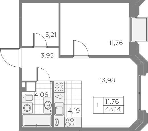 2-комнатная 43 м<sup>2</sup> на 8 этаже