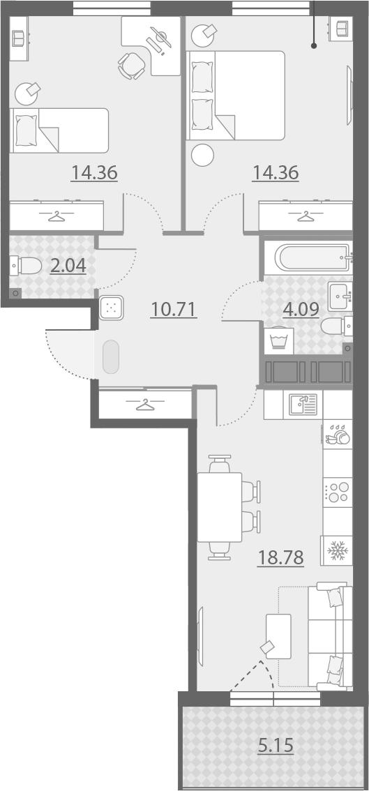 3-комнатная 69 м<sup>2</sup> на 5 этаже