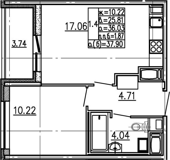 2-комнатная 39 м<sup>2</sup> на 21 этаже