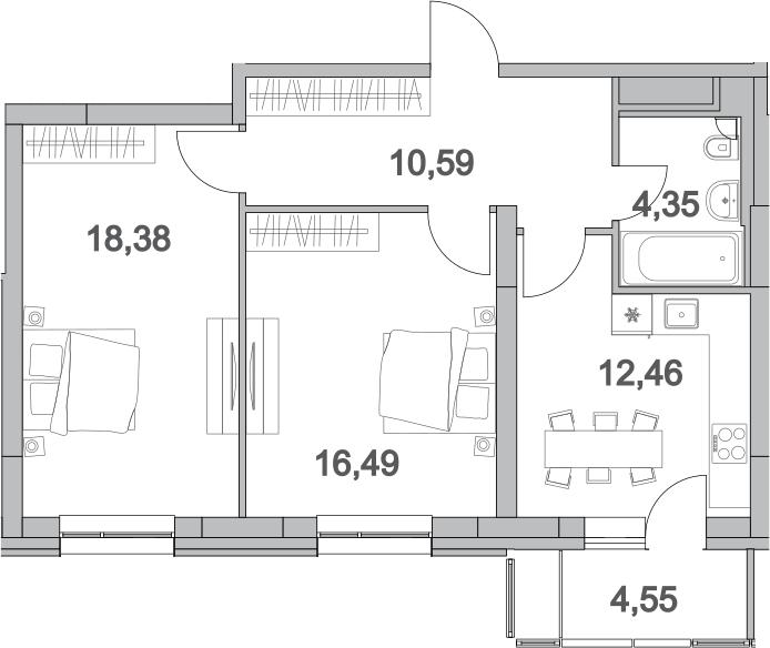 2-к.кв, 66.82 м²
