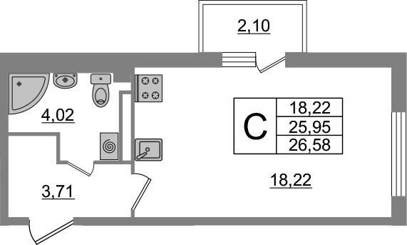 Студия 28 м<sup>2</sup> на 2 этаже