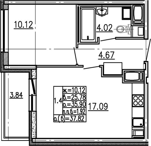 2-комнатная 39 м<sup>2</sup> на 13 этаже