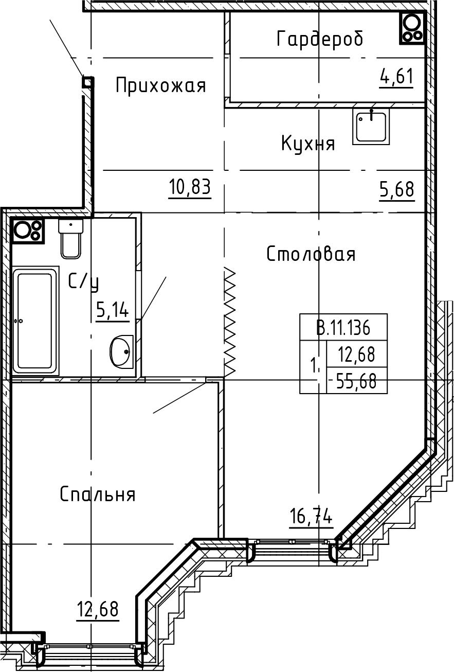 2-комнатная 55 м<sup>2</sup> на 11 этаже