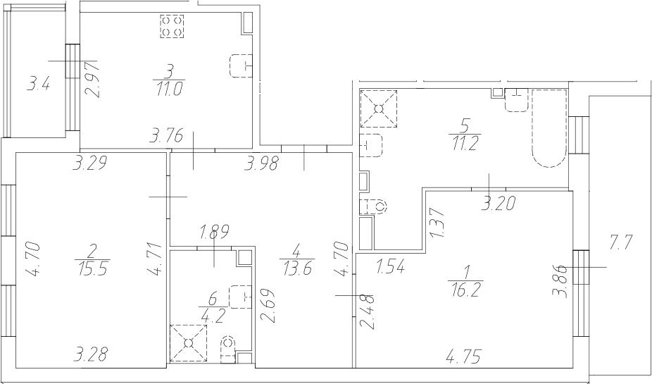 2-комнатная 82 м<sup>2</sup> на 1 этаже