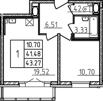 2-комнатная 44 м<sup>2</sup> на 14 этаже