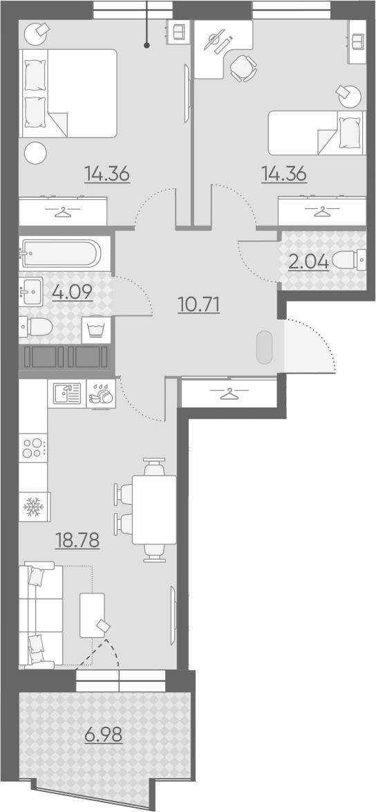 3-комнатная 71 м<sup>2</sup> на 11 этаже