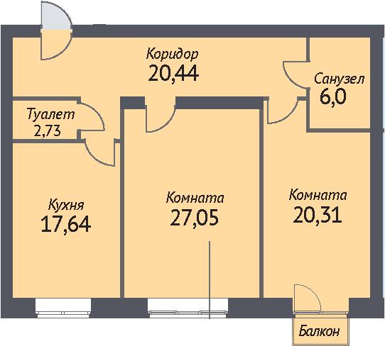 2-к.кв, 93.1 м²