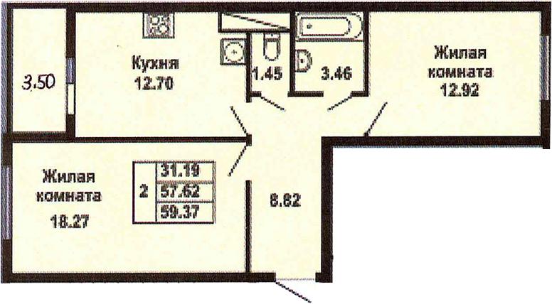 2-к.кв, 61.12 м²