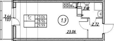 Студия 32 м<sup>2</sup> на 16 этаже