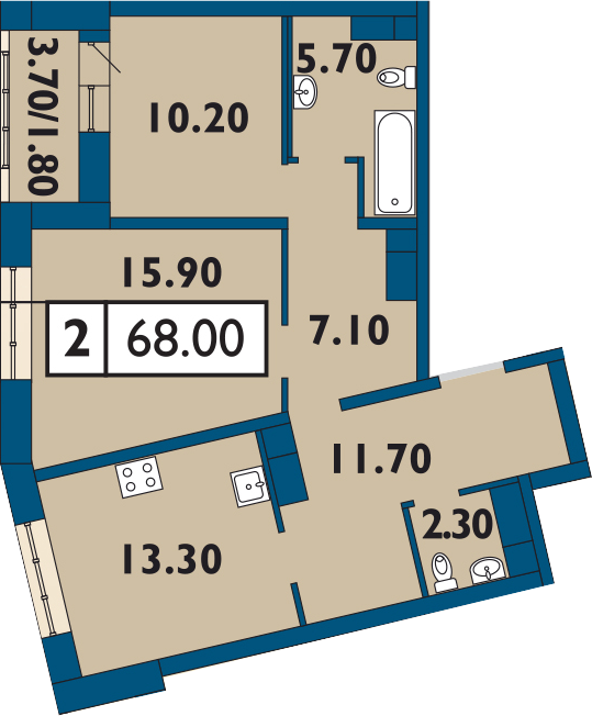 2-комнатная 69 м<sup>2</sup> на 14 этаже