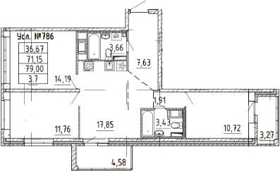 4-к.кв (евро), 79 м²